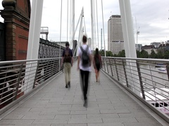 Time lapse.London. Footbridge on the River Thames. Stock Footage
