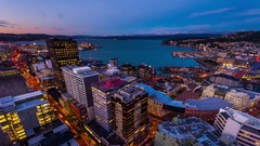 Wellington city and harbor - day to night timelapse Stock Footage