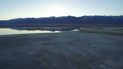 Owens Lake Aerial Shot of Sunset in Sierra Nevada Mts Stock Footage