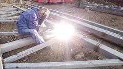 Welder Industrial part in factory Stock Footage