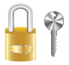 Golden master key lock and steel key Stock Illustration