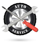 Car auto service logo with screwdriver and wrench Stock Illustration