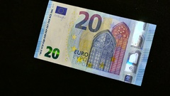 20 euro on black background Stock Footage