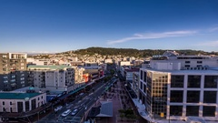 Courtenay Place, Wellington, New Zealand, rooftop day to night timelapse Stock Footage