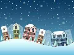 Cityscape winter Stock Illustration