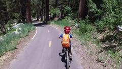 A boy rides his mountain bike on a paved trail in the woods. Stock Footage