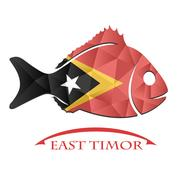 Fish logo made from the flag of East timor Stock Illustration