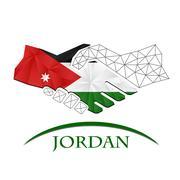 Handshake logo made from the flag of Jordan. Stock Illustration