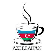Coffee logo made from the flag of Azerbaijan Stock Illustration