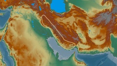 Zoom into Zagros mountain range - glowed. Relief map Stock Footage