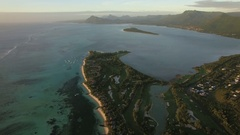 Aerial view of Le Morne Brabant peninsula, Mauritius Stock Footage