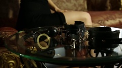 Young woman drinking brandy and takes the gag. closeup BDSM accessories and sex Stock Footage