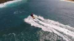 Aerial view of lifeguard surf rescue jetski personal watercraft in Hawaii. Stock Footage