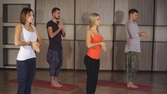 A group of people warming up before yoga Stock Footage