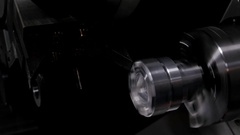 Rotated mechanism - processing of metal working, industrial background Stock Footage