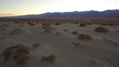 Sand Dunes Aerial Sunset in Mojave Desert near Death Valley Stock Footage