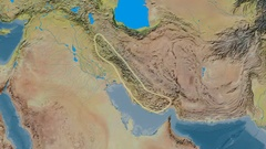 Zoom into Zagros mountain range - glowed. Topographic map Stock Footage