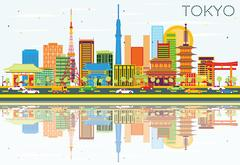 Tokyo Skyline with Color Buildings, Blue Sky and Reflections. Piirros