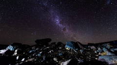 Milky Way to dawn, Tongariro National Park, North Island, New Zealand Stock Footage