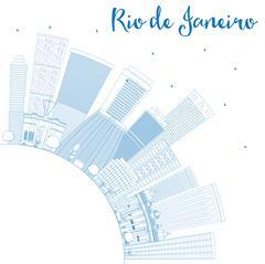 Outline Rio de Janeiro Skyline with Blue Buildings and Copy Space. Piirros