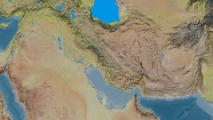 Zoom into Zagros mountain range - masks. Topographic map Stock Footage