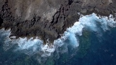 AI Waves Rough Rocks Cliff Waves Water Island Stock Footage