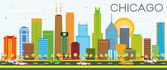 Chicago Skyline with Color Buildings. Piirros