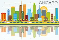 Chicago Skyline with Color Buildings and Reflections. Piirros