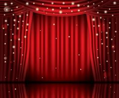 Open Red Curtains with Neon Lights and Copy Space. Stock Illustration