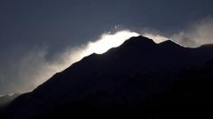 Silhouette Mountain Peak Spindrift Blasted Summit Stock Footage