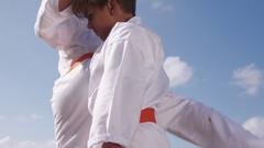 Boys Fighting At Karate School Children Practice Combat Sport Stock Footage