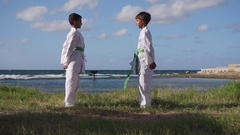 Kids Training At Karate School For Sport Activity Leisure Fun Stock Footage