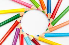 Color pencils isolated on white background close up Stock Photos