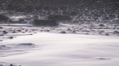 Fierce Blowing Spindrift over Rocky Slope in Winter Pan Left HD Stock Footage
