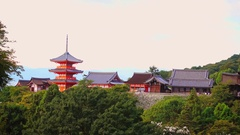 Kiyomizu-dera Buddhist temple in early Autumn Kyoto, Japan. Stock Footage