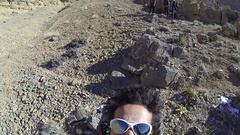 Goofy pov selfie portrait of a man in nature, slow motion. Stock Footage