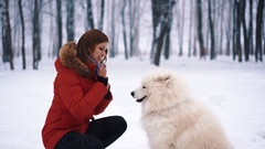 A cute woman plays with white Samoyed dog Stock Footage