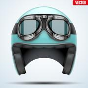 Vintage motorcycle helmet with goggles Stock Illustration