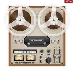 Vintage Analog Reel Tape Recorder. Stock Illustration