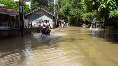 Samui island, Thailand - 4 December 2016: Flooded streets on Samui island Stock Footage