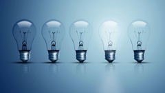 Five bulbs on a blue background. Stock Footage