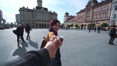 Follow me. Young girl pulls the guys hand Stock Footage
