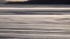 Wind Blasing Ice Crystals Over  Surface of Frozen Wilderness River Stock Footage