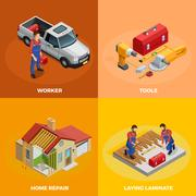 Home Improvement Isometric Template Stock Illustration
