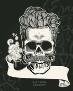 Skull Print. Hipster silhouette with mustache and tobacco pipes Stock Illustration