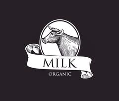 Logo Cow silhouette with Ribbons. Grunge Label for Milk. Piirros