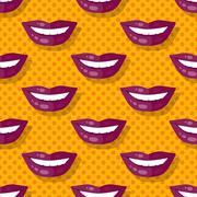 Seamless Pattern Smiling Lips Teeth on Polka Dot Stock Illustration