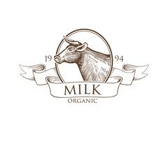 Logo Cow silhouette with Ribbons. Grunge Label for Milk. Stock Illustration