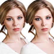 Comparison portrait of young woman Stock Photos