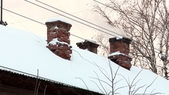 Chimney covered with snow. Stock Footage